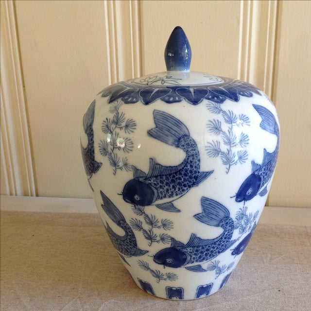 Asian Asian Koi Fish Ginger Jar For Sale - Image 3 of 9