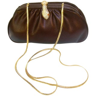 Opulent Jeweled Serpent Clasp Evening Bag For Sale