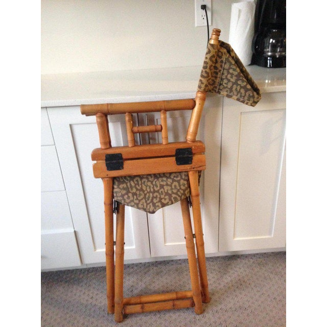 Directors Chairs From Telescope Chair, Leopard Print Fabric, Midcentury, Pair For Sale - Image 12 of 13