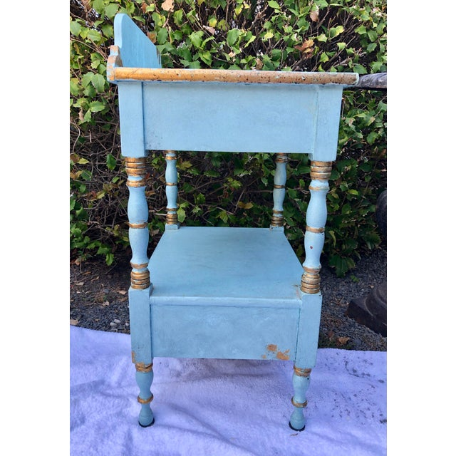 Turquoise 1950's Vintage Robin's Egg Blue Nightstand For Sale - Image 8 of 12