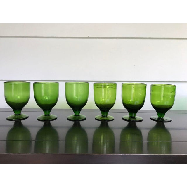 Vintage Green Dessert Glasses - Set of 8 - Image 2 of 6