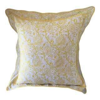 Yellow Floral Hand Blocked Euro Sham For Sale