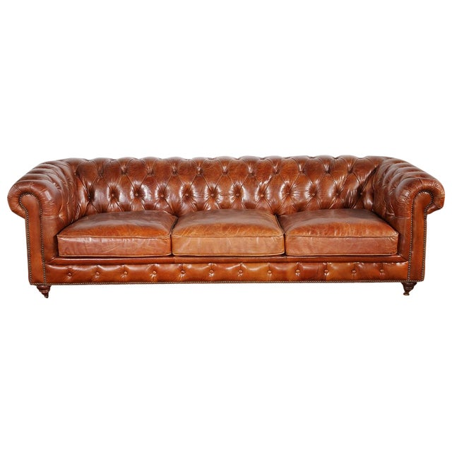 Pasargad Genuine Leather Chester Bay Tufted Sofa - Image 1 of 4