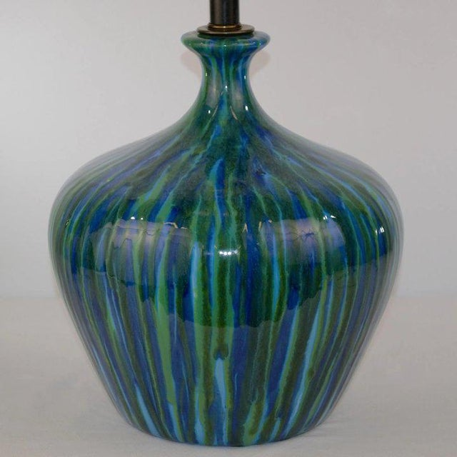Mid-Century Modern Blue Green Glaze Mid Century Table Lamp For Sale - Image 3 of 7