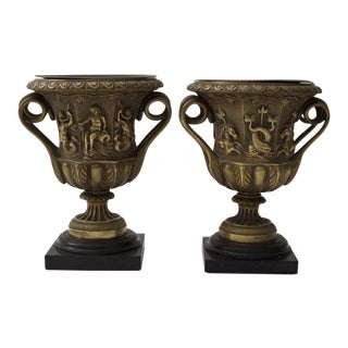 Grand Tour Bronze Urn-Form Vases With Mythological Figures - A Pair For Sale