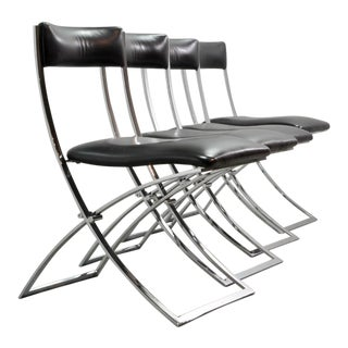 Set of Four Mid-Century Italian Modern Design Black Leather Dining Chairs by Marcello Cuneo for Mobel Italia, 1970's