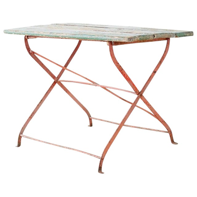 French Folding Iron Garden or Bistro Style Dining Table For Sale
