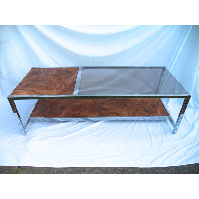 Mid-Century Chrome & Burl Coffee Table - Image 2 of 6