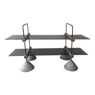 Concrete Wood & Metal Two-Tier Glass Display Shelf