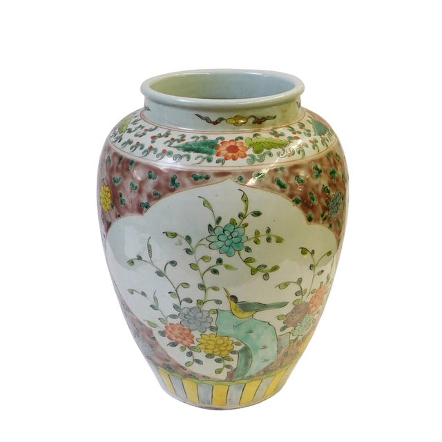 Chinese Flower Bird Scenery Porcelain Vase For Sale - Image 4 of 6