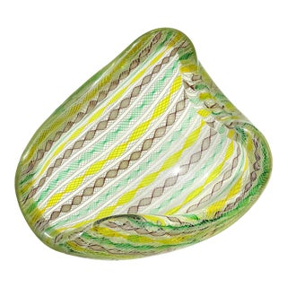 Seguso Murano Yellow Green Purple White Twisting Ribbons Italian Art Glass Mid Century Bowl For Sale