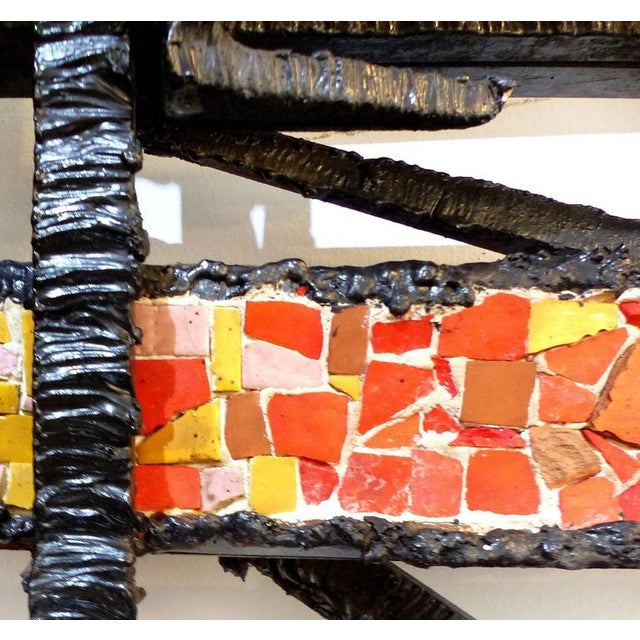 Sign Rue 1920s French Abstract Iron & Mosaic Tile Wall Sculpture - Image 9 of 11