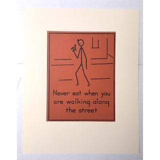 """Vintage 1940's Double-Sided """"Good Manners"""" Stick Figure Poster - Never Eat/Be a Good Listener"""