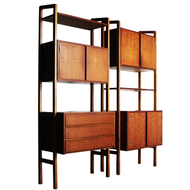 Yugoslavian Mid-Century Teak Wall Units - A Pair - Image 1 of 9