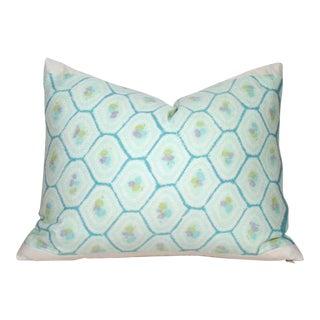 Hand Dyed Silk Shibori Honeycomb Kimono Pillow Cover For Sale
