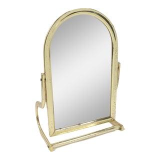 1970s Mid Century Modern Mid-Century Modern Brass Gold Tilt Vanity Table Desk Mirror For Sale