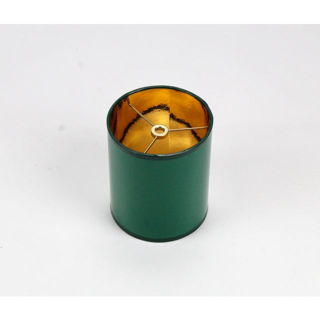 Not Yet Made - Made To Order Mini High Gloss Dark Green Drum Lamp Shade With Gold Lining For Sale - Image 5 of 5