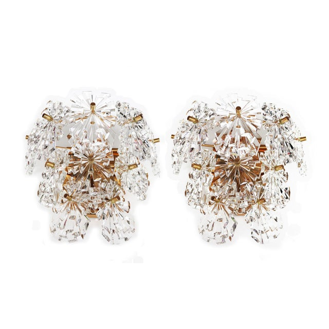 1970s Germany Kinkeldey Starburst Wall Sconces Crystals on Gilt-Brass - a Pair For Sale - Image 13 of 13