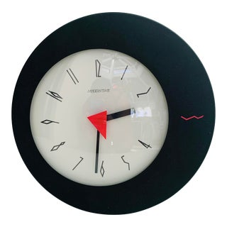 """1980s Memphis Style """"Moderntime"""" Wall Clock For Sale"""