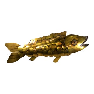 "Rare Vintage Curtis Jere 41"" Long Welded Brass Fish Sculpture Wall Art For Sale"