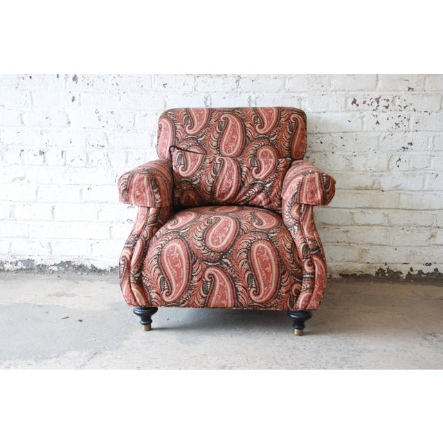 Brass Kravet Lounge Chair and Ottoman in Paisley Upholstery For Sale - Image 7 of 12