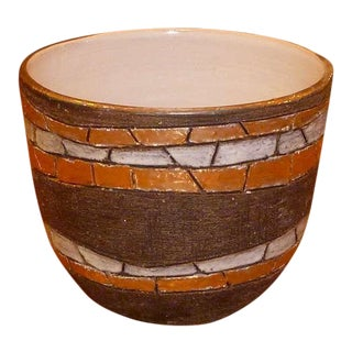 Large Modernist Aldo Londi Pottery Bowl For Sale