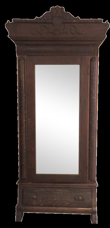 Vintage Wood Wardrobe Armoire With Mirror