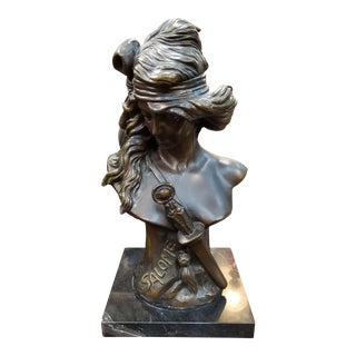 "Art Nouveau After Alfred Foretay ""Salome"" Bronze Sculpture on Marble Base For Sale"