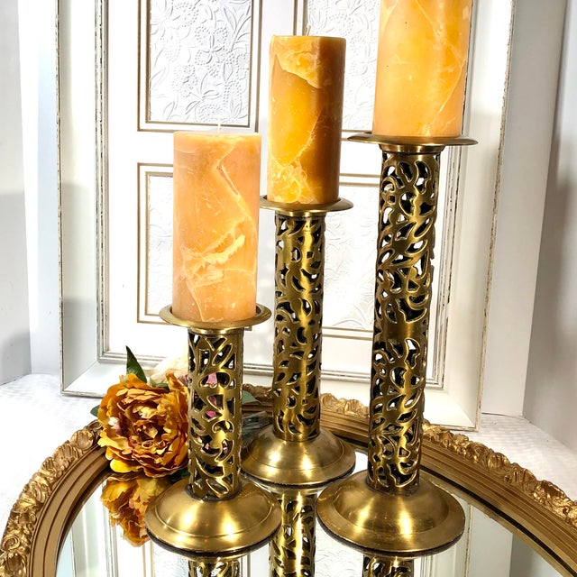 "Gold Vintage Brass Heavy Candle Holders ""Filigree"" Tall Taper / Pillar Stand 3 - Set of 3 For Sale - Image 8 of 13"