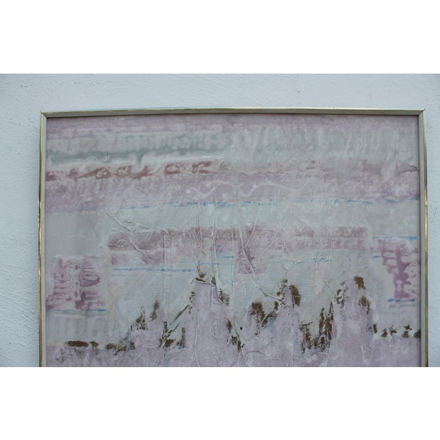 Pink Lee Yoling Texture Oil and Watercolor Abstract Painting For Sale - Image 8 of 11