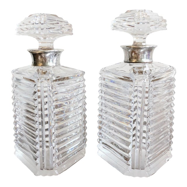 Asprey Crystal Decanters With Sterling Hardware - a Pair For Sale