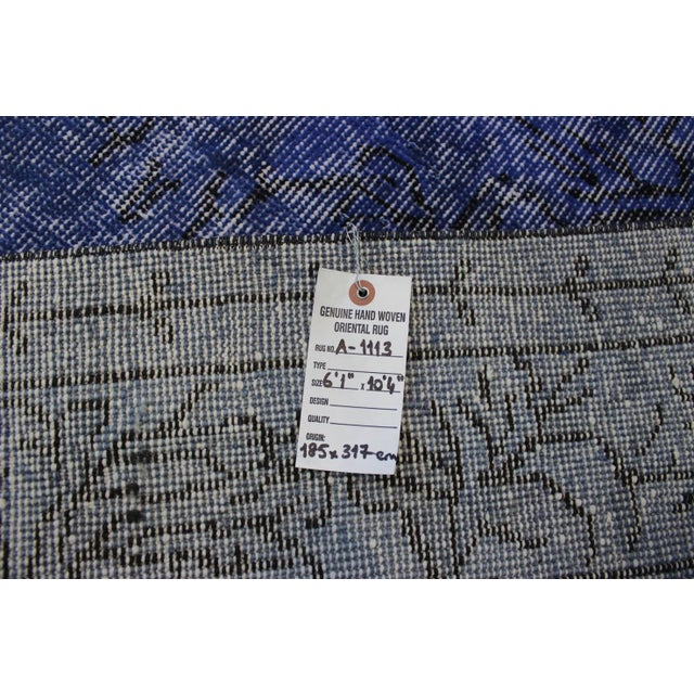 Dark Blue Turkish Over-Dyed Rug - 6′1″ × 10′4″ - Image 9 of 9