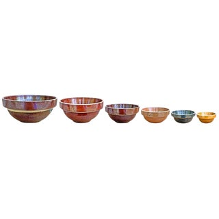 Set of Six Early 20th Century Stoneware Mixing Bowls For Sale