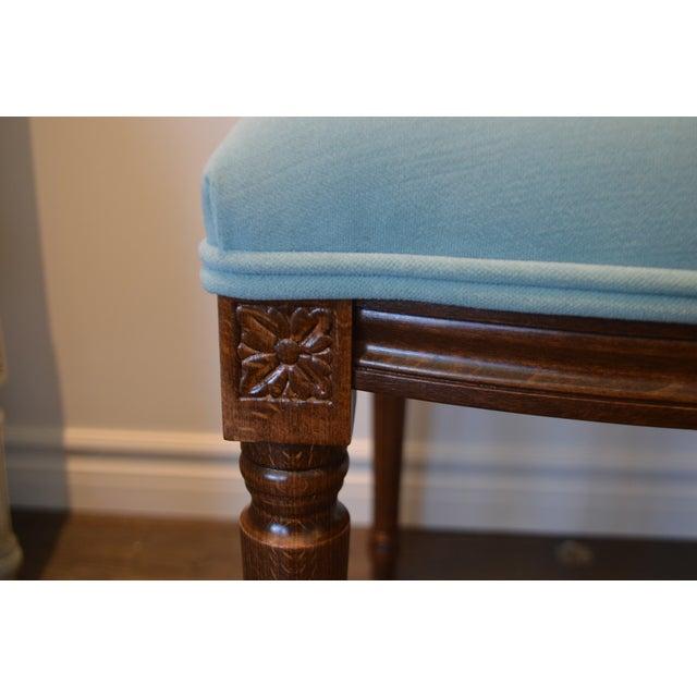 Custom Order Louis XVI Style Square Back Dining Chair Upholstered in Kravet's Crypton Washable Velvet For Sale In Buffalo - Image 6 of 11
