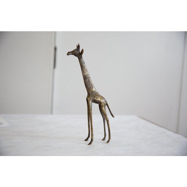 Metal Vintage African Dark Bronze With Golden Streaks Giraffe For Sale - Image 7 of 8