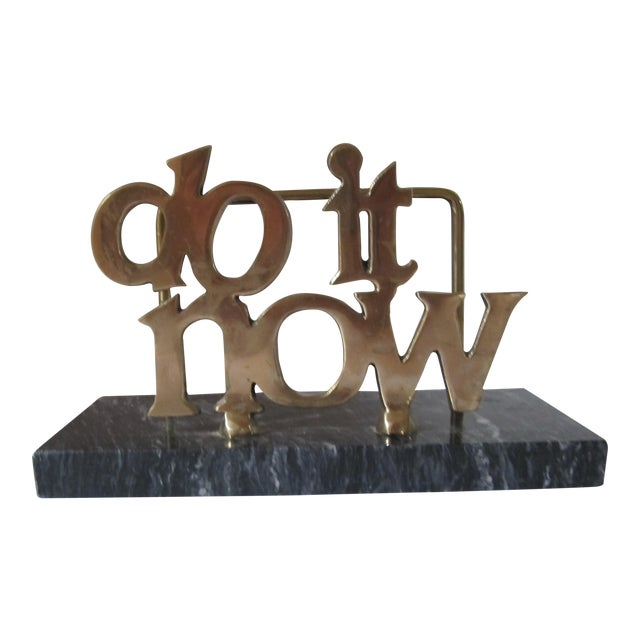 """""""Do it Now"""" Brass & Marble Letter Holder For Sale"""
