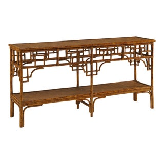 Pagoda Console, Large, Brown, Rattan For Sale