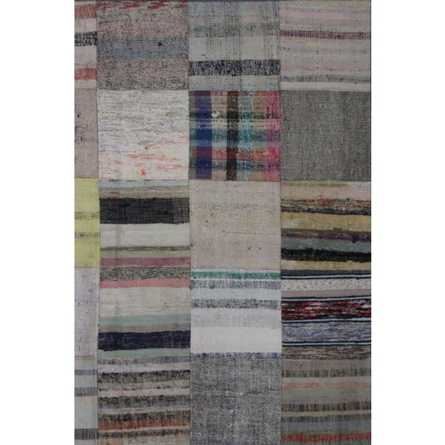 "Arts & Crafts Hand Knotted Patchwork Rug by Aara Rugs Inc. - 7'9"" X 5'7"" For Sale - Image 3 of 3"