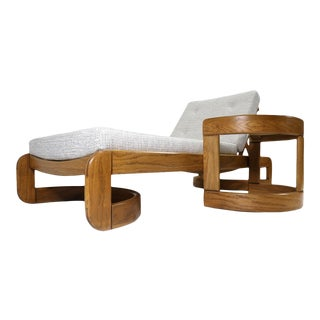 Howard Mid-Century Modern Restored Adjustable Chaise Lounge Daybed & Side Table For Sale