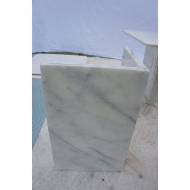 Mid-Century Modern Italian Carrara Marble Square End Table For Sale In Washington DC - Image 6 of 11