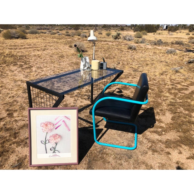 1980s Post-Modern Metal Glass Grid Desk For Sale In Palm Springs - Image 6 of 10