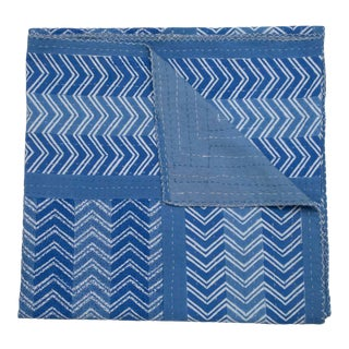 Chevron Hand Stitched Quilt, Queen - Blue For Sale
