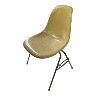 1950s Vintage Herman Miller Eames Yellow Zenith Fiberglass Chair For Sale