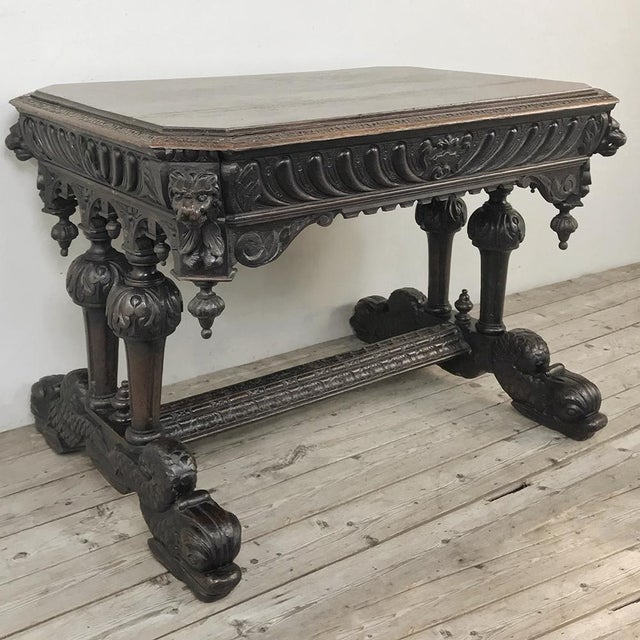 19th Century French Renaissance Writing Table For Sale - Image 4 of 13