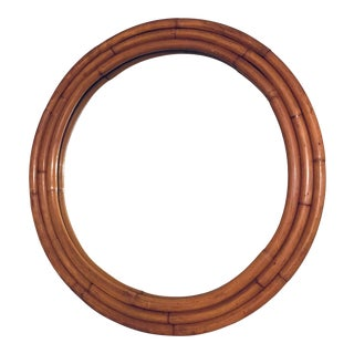 1940s Large Round 3 Strand Bamboo Mirror For Sale