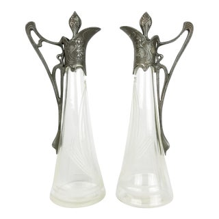 Art Nouveau Cut Glass and Pewter Mounted Claret Jug Decanters - a Pair For Sale