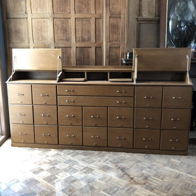 American Antique Bankers File Cabinet Drawer Unit For Sale - Image 3 of 11