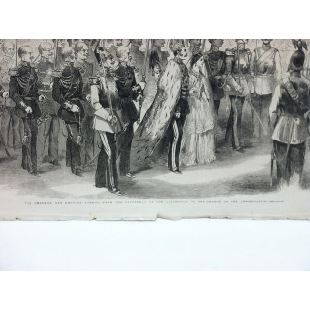 """English 1856 Antique """"The Emperor & Empress Passing From the Cathedral of the Assumption to the Church of Annunciation"""" The Illustrated London News Print For Sale - Image 3 of 5"""