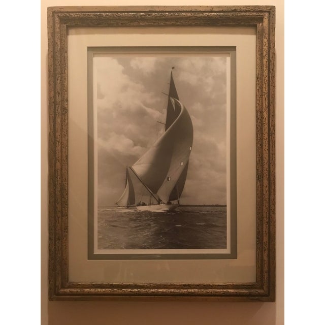 """1980s Framed and Double Shadow Mount Matted """"Candida"""" Black & White Prints From 1923 & The """"Velsheda"""" From 1943 - a Pair For Sale - Image 5 of 13"""