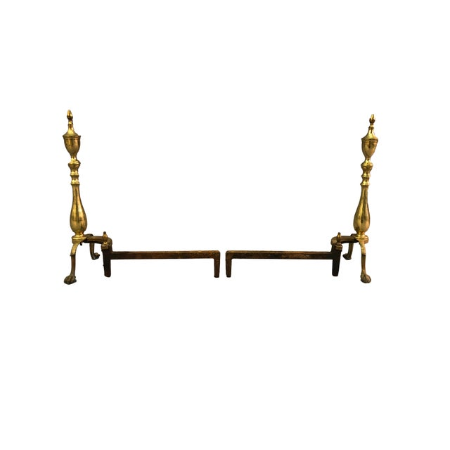 Chippendale-Style Brass Andirons - A Pair For Sale - Image 5 of 11